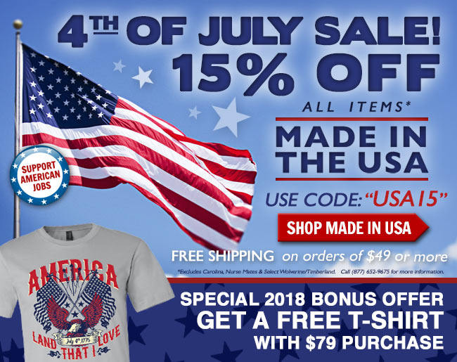 Take 15% Off Made In The USA + Get A FREE T-Shirt + FREE Shipping!