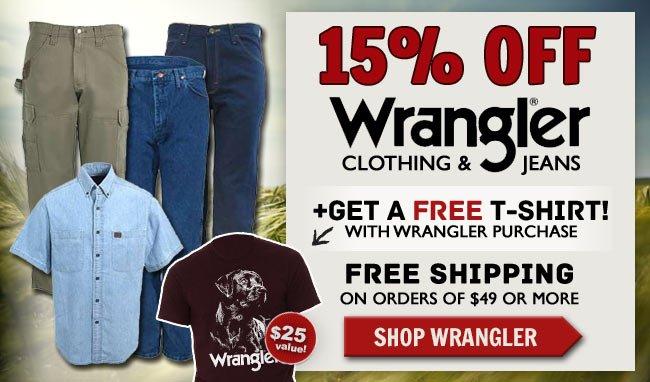 Take 15% Off Wrangler + Get A FREE T-Shirt + FREE Shipping!