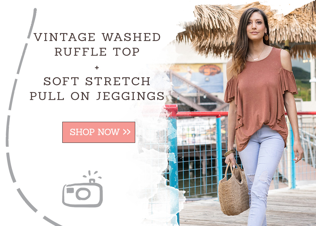 Vintage Washed Ruffle Top + Soft Stretch Pull On Jeggings
