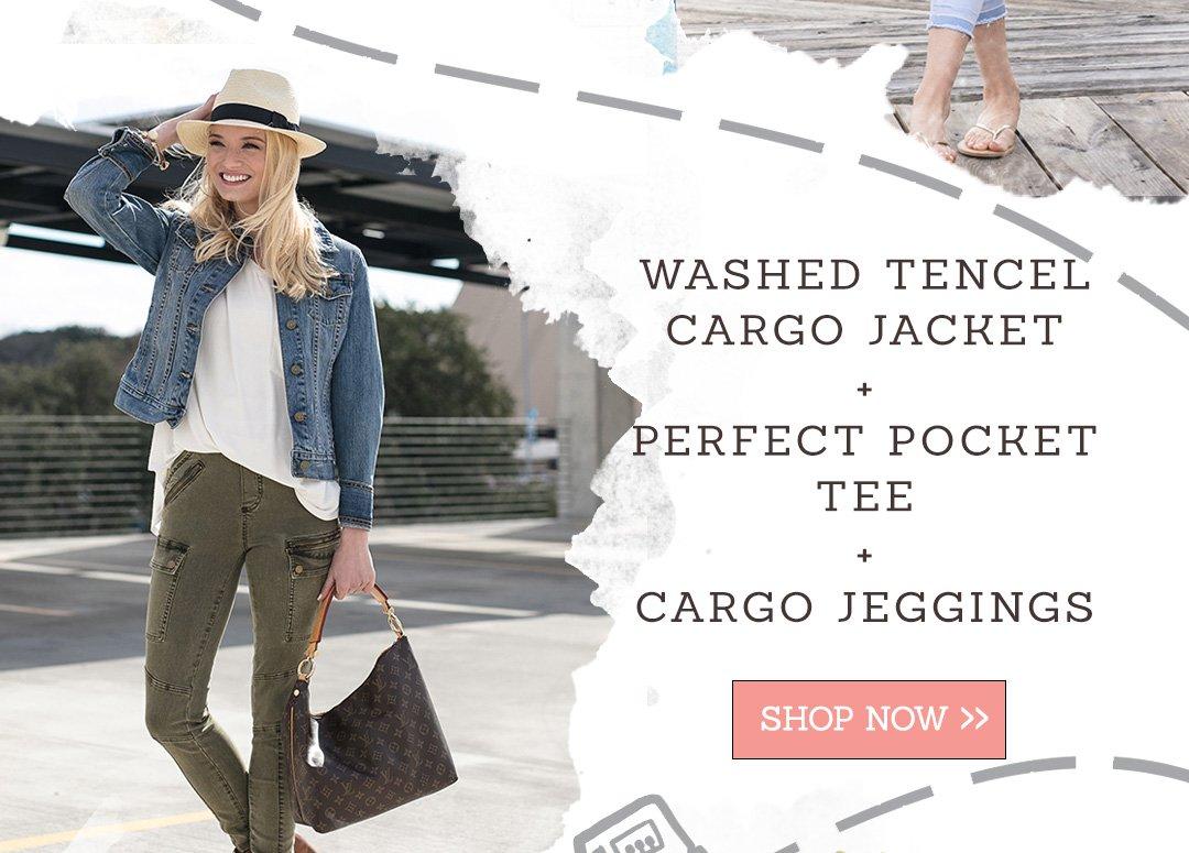 Washed Tencel Cargo Jacket | Perfect Pocket Tee | Cargo Jeggings