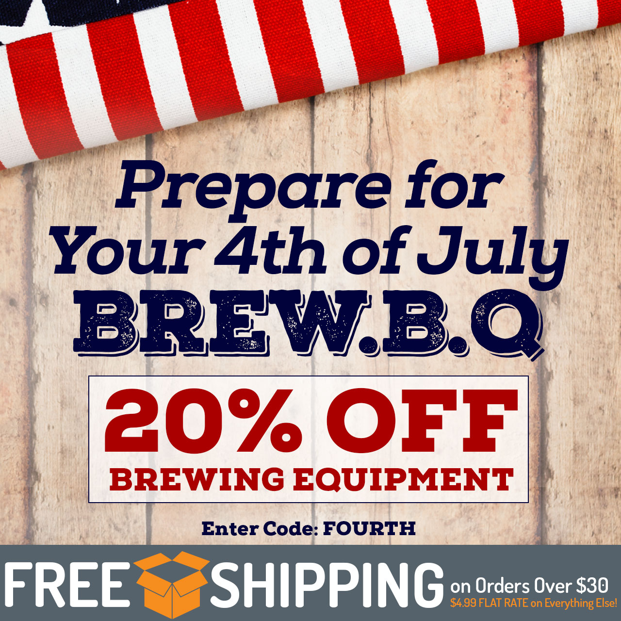 "20% Off All Equipment. Use code ""Fourth"" now through 11:59pm CST on 7/1/2018."