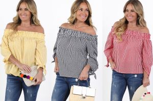 Gingham Off-Shoulder - 3 Colors! graphic