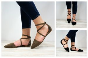 Criss Cross Strap and Almond Toe Flats graphic