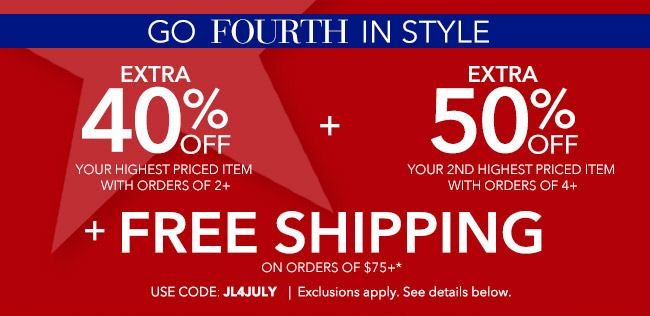 Go Fourth in Style - Code: JL4JULY