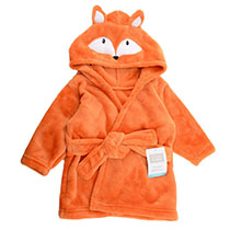 Hudson Baby - Coral Fleece Hooded Bathrobe - Orange Fox