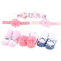 Hudson Baby - Headband & Socks Giftset - Pink, 6-Piece Set