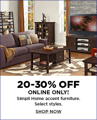 20 to 30% off Simpli Home furniture. Select styles. Shop now.