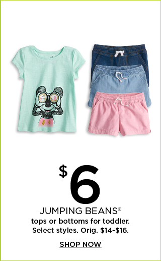 $6 select jumping beans tops or bottoms for toddler.  Orig. $14-$16.  Shop now.