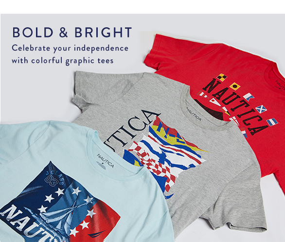 BOLD AND BRIGHT Celebrate your independence with colorful graphic tees