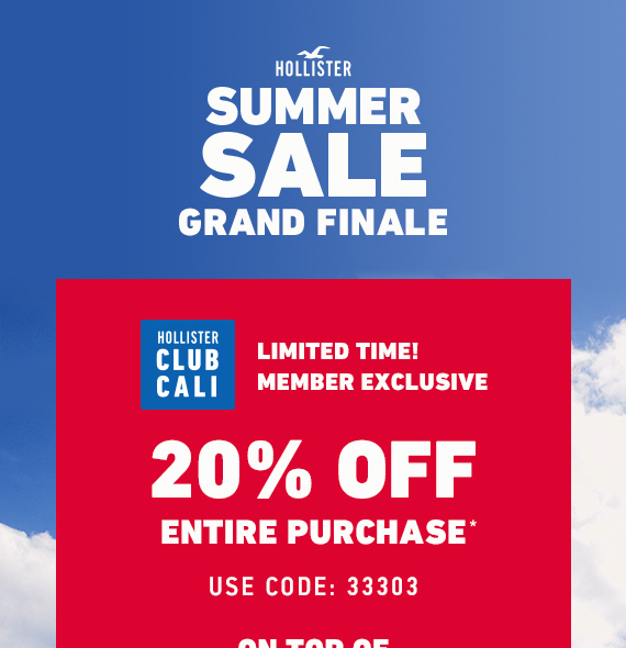 Club Cali Exclusive! 20% Off Entire Purchase* Code: 33303