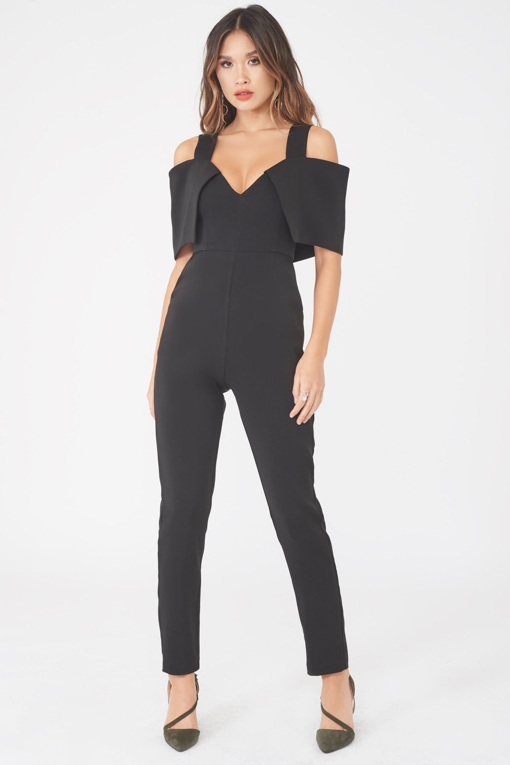 Image of Folded Over Tailored Jumpsuit in Black