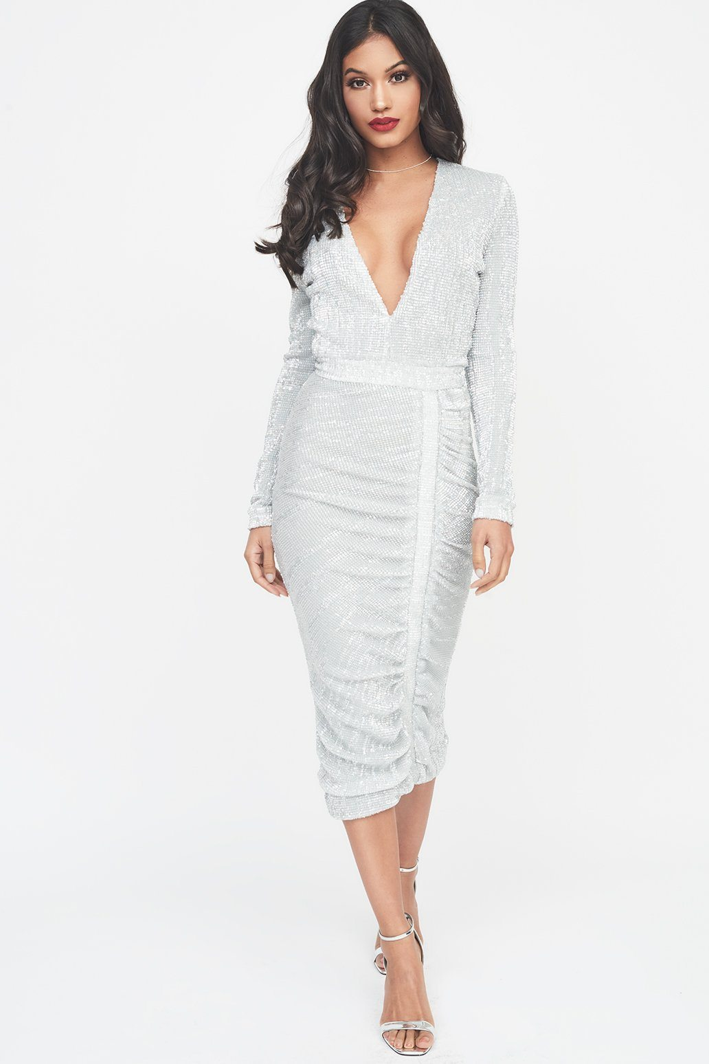 Image of Signature Silver Iridescent Sequin Midi Dress