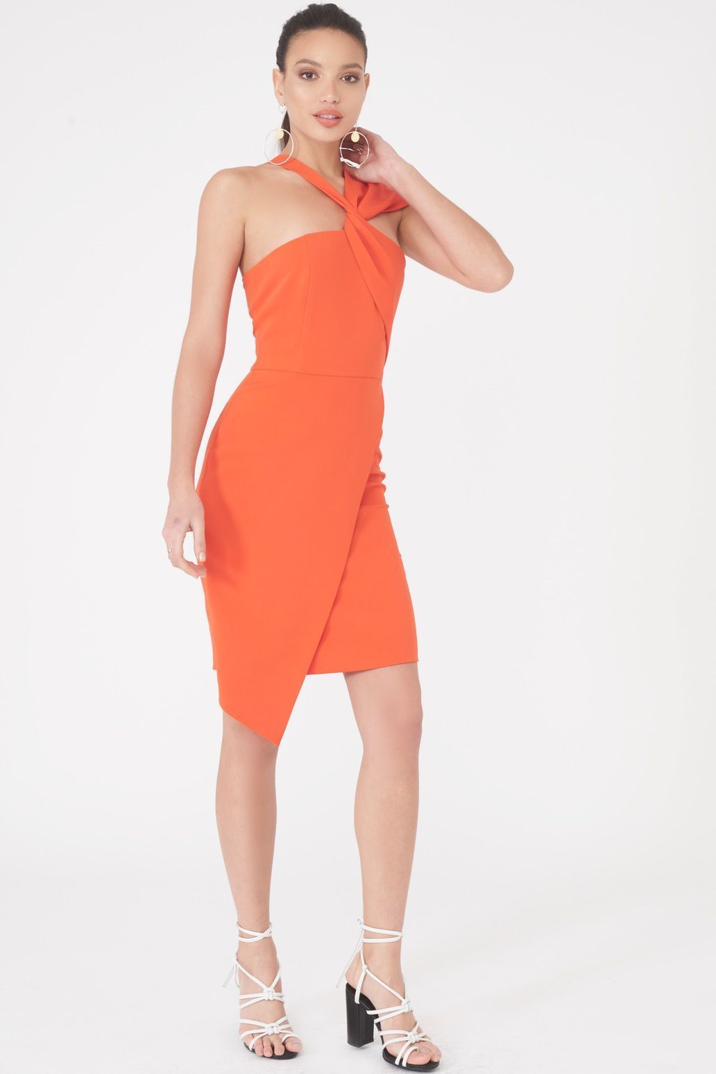 Image of Asymmetric Twist Detail Dress in Orange