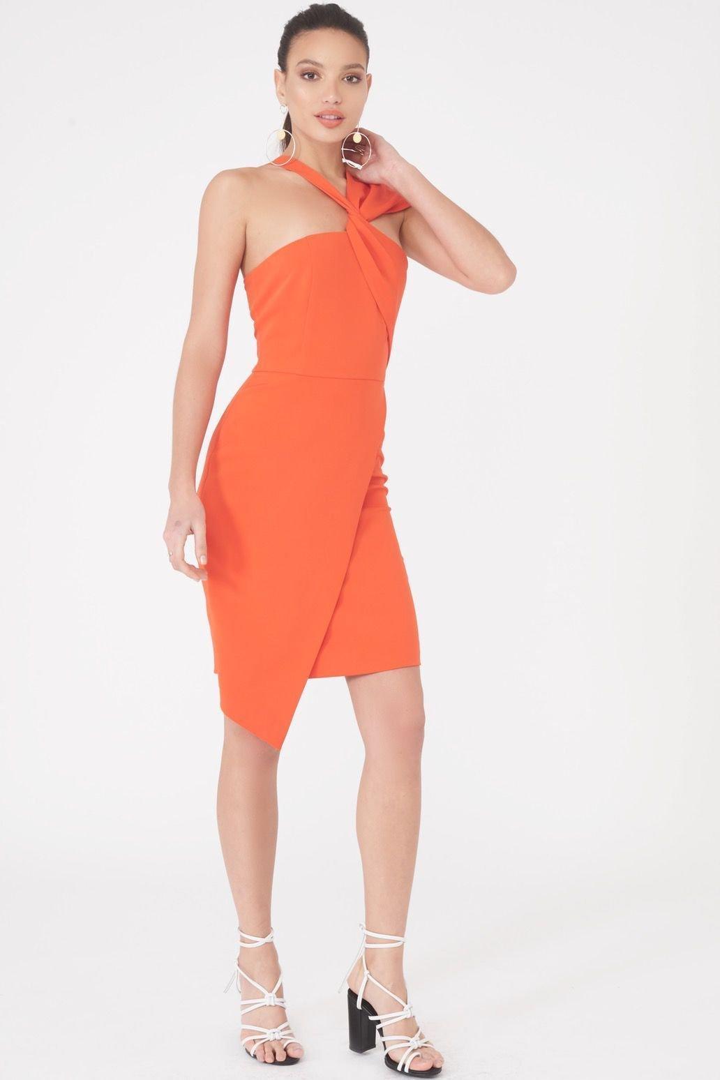 Image of Asymmetric Twist Detail Dress in Orange