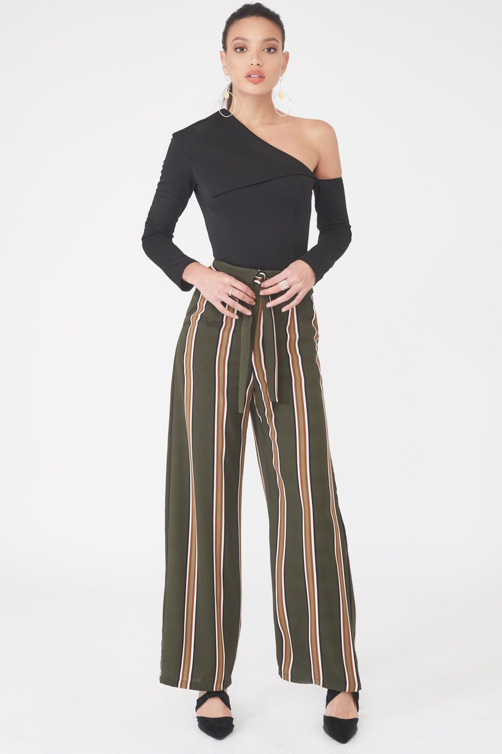 Image of Folded Over Wide Leg Woven Trouser