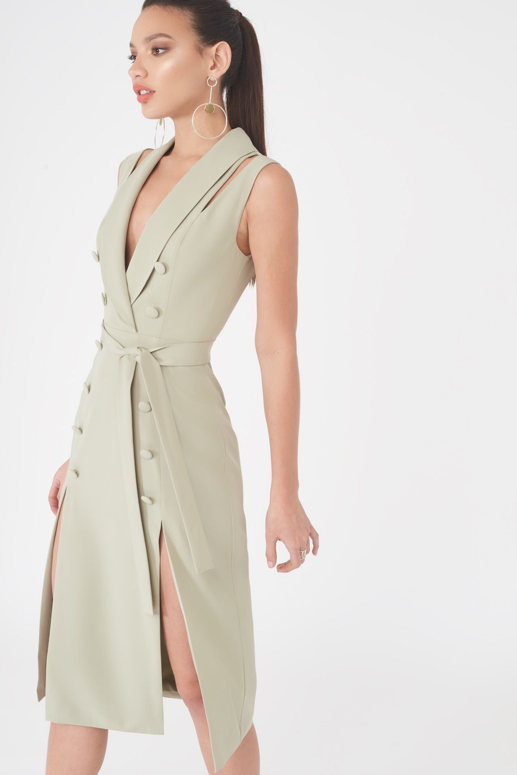 Image of Sleeveless Tuxedo Midi Dress with Double Split Skirt in Sage Green