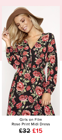 Girls on Film Rose Print Midi Dress