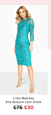 Little Mistress Ella Guipure Lace Pencil Dress With Stand Collar