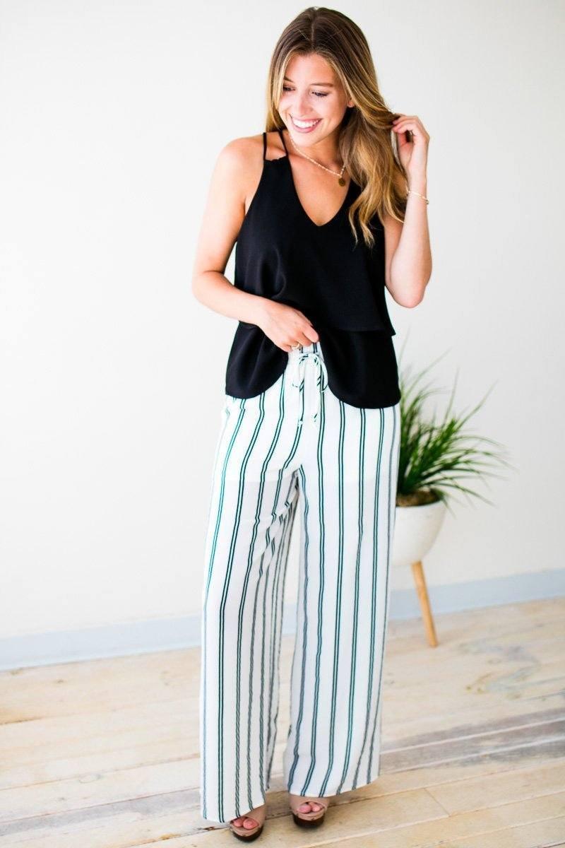Ivory Stripe Pants
