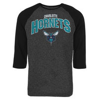 Charlotte Hornets Majestic Threads Champs Tri-Blend Raglan 3/4-Sleeve T-Shirt - Black