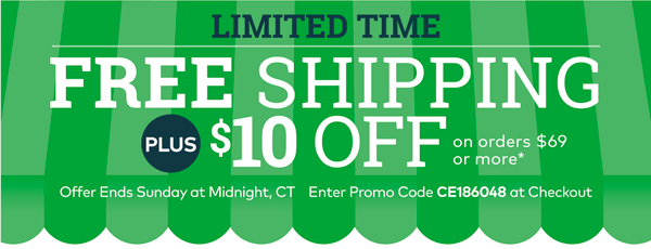 Free Shipping + $10 Off*