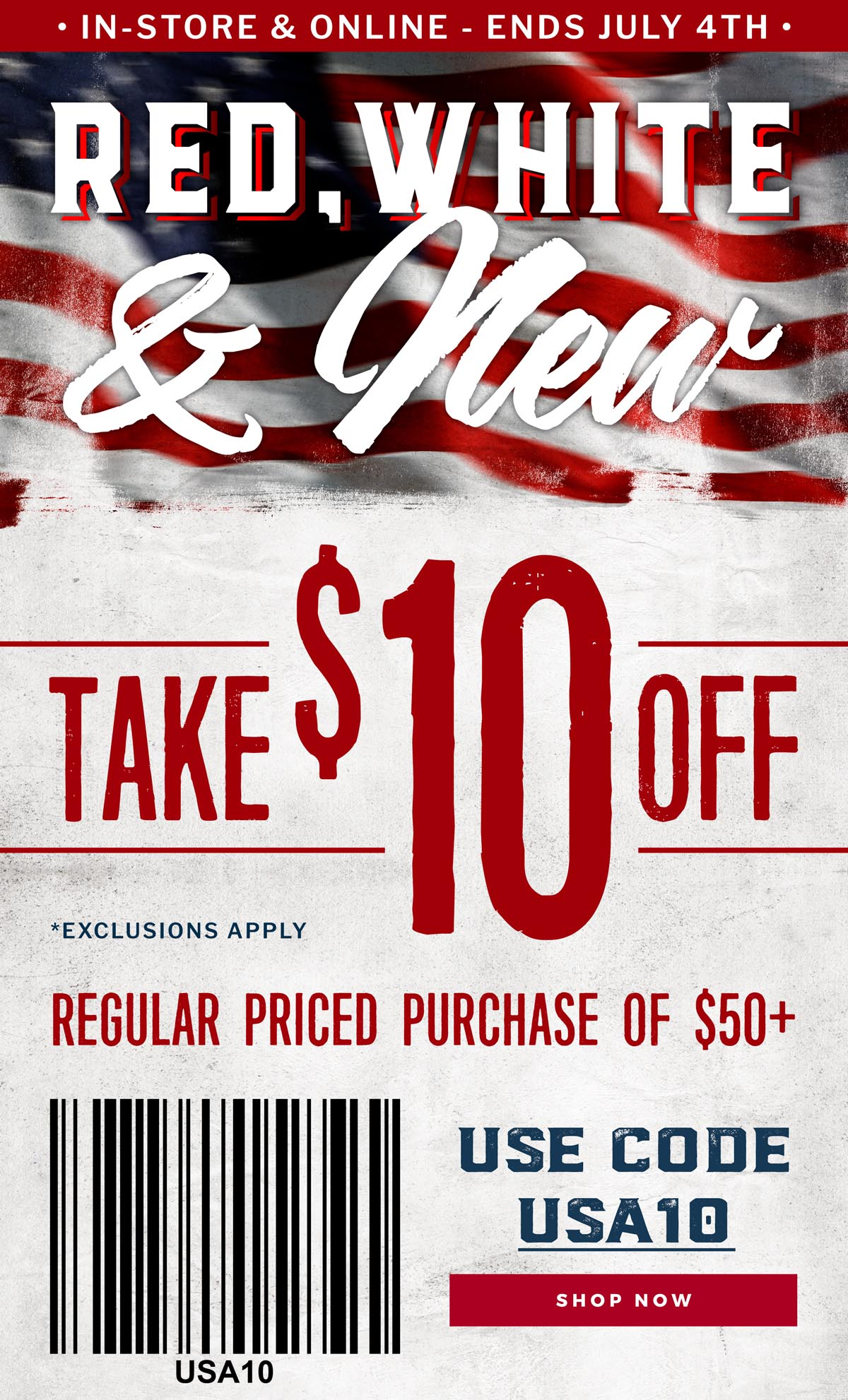 Use Code USA10 to Save $10 off $50
