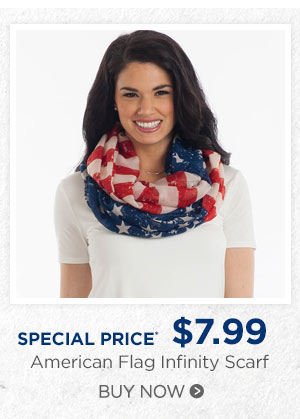 American Flag Infinity Scarf- SPECIAL PRICE $7.99. Buy now.