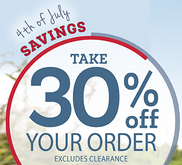 4th OF JULY SALE, TAKE 30% OFF YOUR ORDER. EXCLUDES CLEARANCE. USE PROMO CODE SW8J4. ENDS 7/4. SHOP NOW.