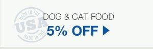 5% Off Dog & Cat Food