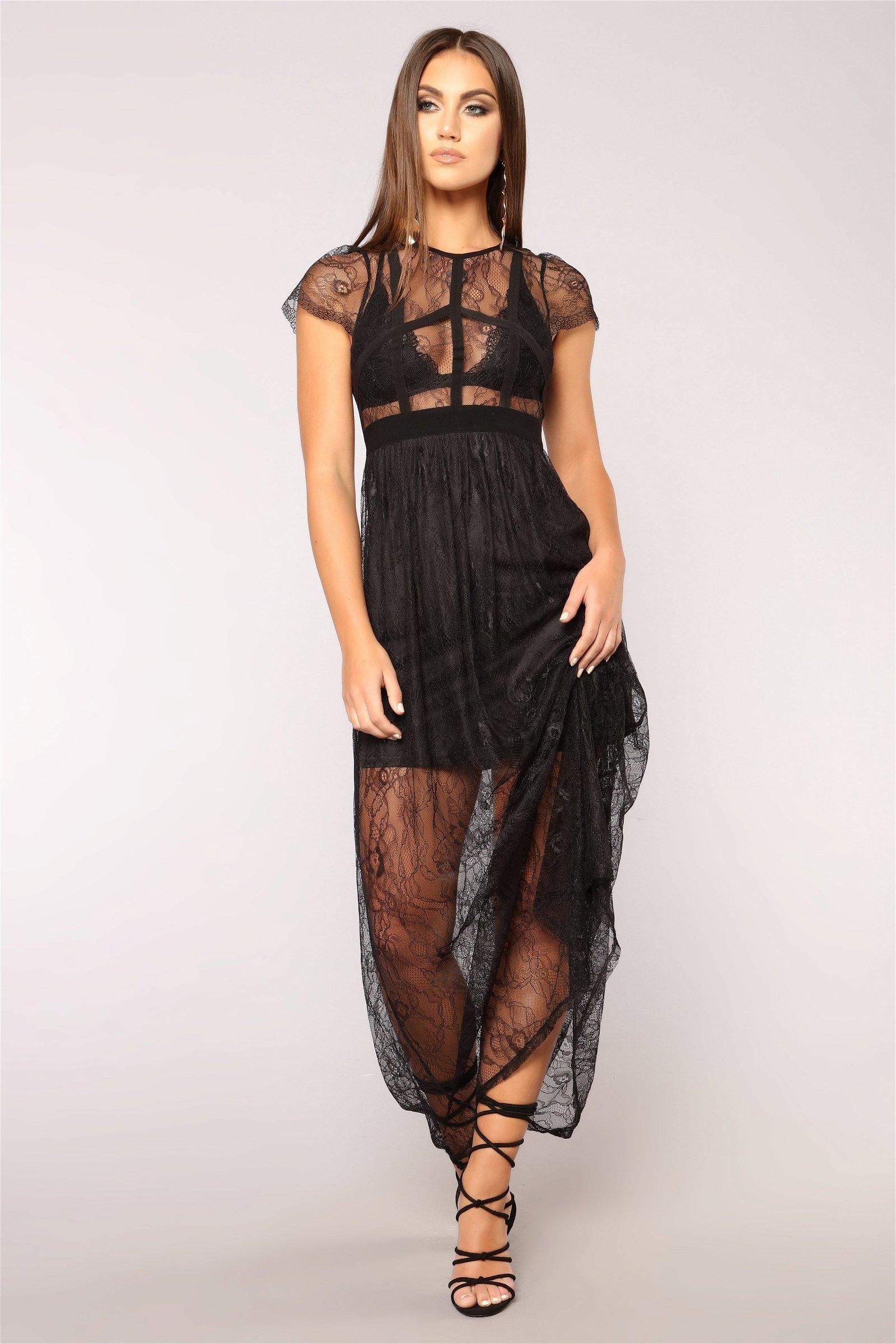 Night Goddess Lace Dress - Black