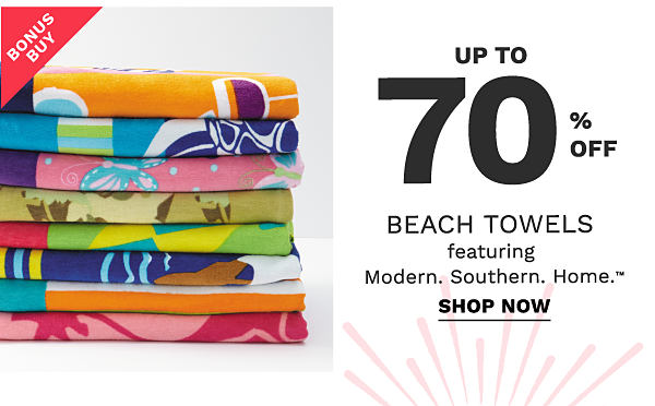 Bonus buy - up to 70 % off beach towels featuring Modern.Southern.Home. Shop now.