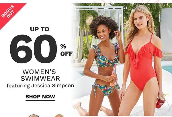 Bonus buy - up to 60 % off women's swimwear featuring Jessics Simpson. Shop now.