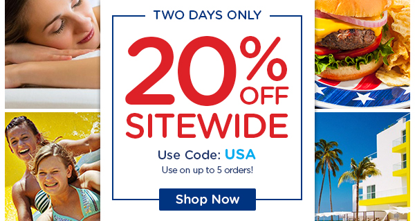 20% OFF Beauty, Activities, Dining, Live Events & Travel