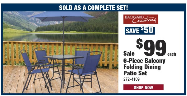Backyard Creations 6-Piece Balcony Folding Dining Patio Set