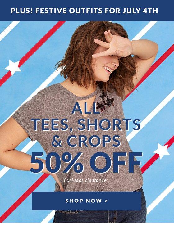 All Tees, Shorts & Crops 50% Off
