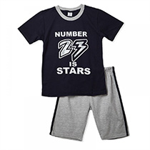 Vincent - 2pc Set Short - Navy Blue & Gray