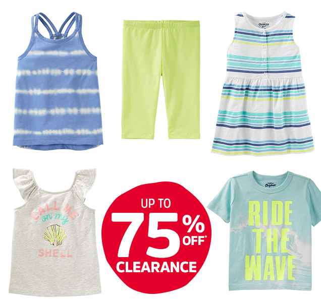 Up to 75% off* clearance