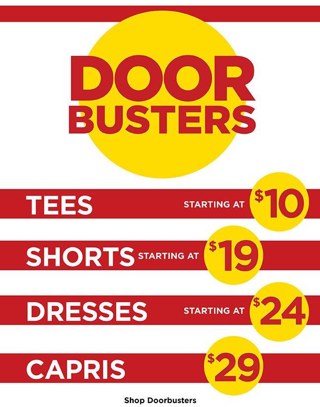 Door Busters Starting at $10! Shop Doorbusters.