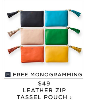 FREE MONOGRAMMING - $49 - LEATHER ZIP TASSEL POUCH