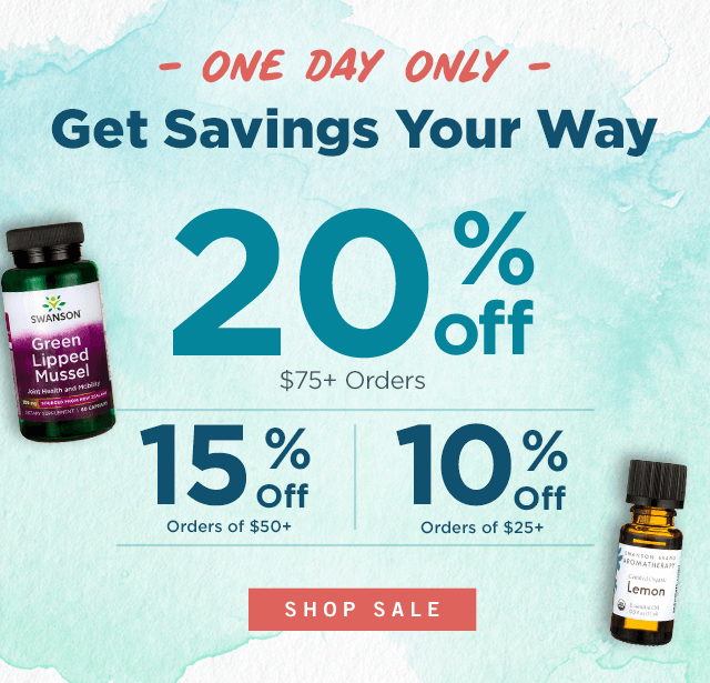 ONE DAY ONLY: Up to 20% Off Your Entire Purchase