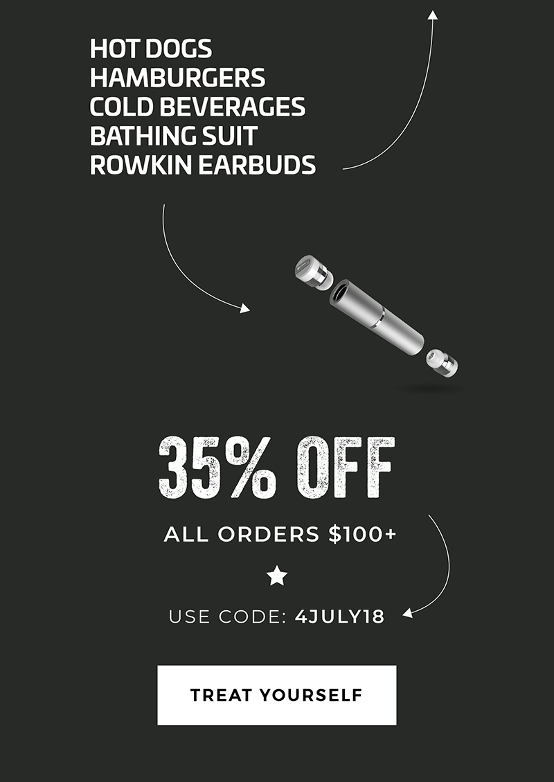 Hot Dogs -Hamburgers -Cold Beverages -Bathing Suit -Rowkin Earbuds   35% OFF all orders $100+ Use Code: 4JULY18 Treat Yourself.
