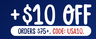 $10 off Orders $75+. Code: USA10