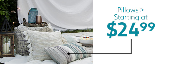 Pillows starting at $24.99