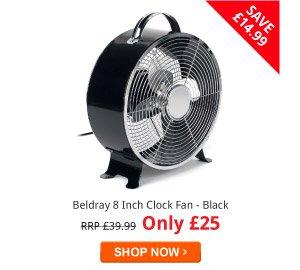 Beldray 8 Inch Clock Fan - Black