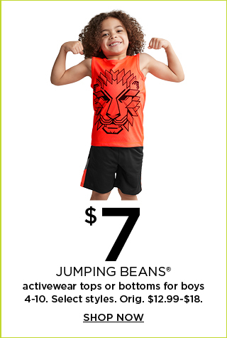 $7 select jumping beans active tops or bottoms for boys 4-10.  Orig. $12.99-$18.  Shop now.