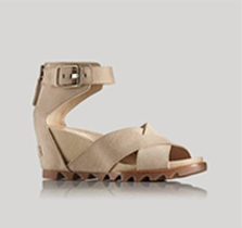 Profile of a heeled wedge sandal.