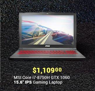 """$1,109 MSI Core i7-8750H GTX 1060 15.6"""" IPS Gaming Laptop"""