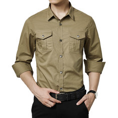 Military Style Casual Business Chest Pockets Cotton Cargo Shirts