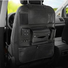 Leather Car Seat Back Storage Bag Organizer with USB Charging Port