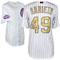 Jake Arrieta Chicago Cubs Fanatics Authentic Autographed Majestic Gold Replica Jersey with 2016 WS Champs Inscription